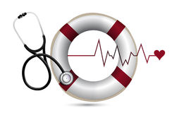 Lifeline and lifebuoy with a Stethoscope Royalty Free Stock Image