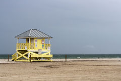 Lifequard Station in Key Biscayne - Mimai, Florida. Lifeguard hut on a stormy beach of Key Biscayne - Miami, Florida Royalty Free Stock Image