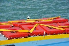 Liferaft on deck stock image