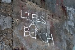 Lifes a beach. Beach art with life's a beach in chalk Royalty Free Stock Photos