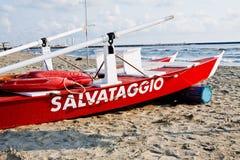 Lifesaver. A Lifeguard Rescue Boat In Viareggio, Italy Royalty Free Stock Images