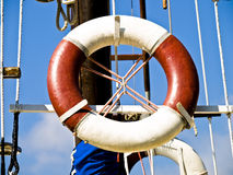 Lifesaver. Belt ready for use on the sailboat Stock Photography