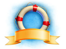 Lifesaver and banner. Lifesaver and an elegant ribbon banner. Digital illustration, included clipping path allows to separate lifesaver and banner from Royalty Free Stock Image