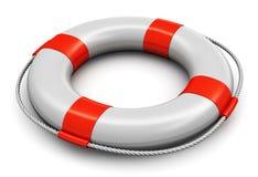 Lifesaver belt. Red and white lifesaver belt isolated on white background Stock Image