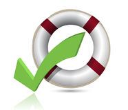 Lifesaver and Check Mark Royalty Free Stock Photo