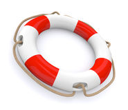 Lifesaver. Closeup of a lifesaver, red and white (3d render Stock Image