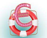 Lifesaver with euro symbol. Lifesaver with gems euro symbol vector illustration