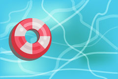 Lifesaver floating in the swimming pool. Vector illustration Stock Images