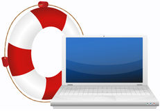 Lifesaver for laptop Stock Photo