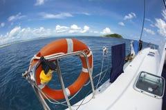 Lifesaver on a sailboat Stock Photo