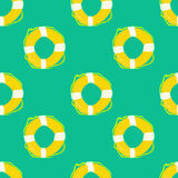 Lifesaver watercolor seamless pattern, painted by hand. Watercolor lifesaver ring, summer travel seamless pattern, vector image Royalty Free Stock Photography