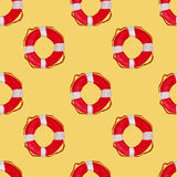 Lifesaver watercolor seamless pattern. Watercolor lifesaver ring, summer travel seamless pattern Stock Images