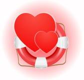 Lifesaverpictogram met harten vector illustratie