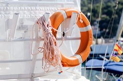 Lifesaving ring on yacht Royalty Free Stock Photo