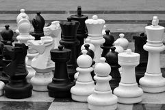 Lifesize chess pieces Royalty Free Stock Photos