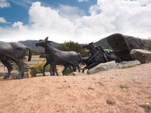 Lifesize Sculpture at end of the Santa Fe Wagon Train Trail in the USA Stock Photo