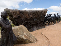 Lifesize Sculpture at end of the Santa Fe Wagon Train Trail in the USA Stock Images