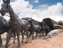 Lifesize Sculpture at end of the Santa Fe Wagon Train Trail in the USA Stock Image