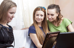 Lifesrtyle Concept. Portrait of Three Young Caucasian Girlfriend Stock Image