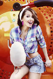 Lifestyle. Amusing Funny Girl with Cotton Candy Smiling Royalty Free Stock Photos