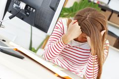 Lifestyle. Attractive girl tired at work. Lifestyle. Tired woman at work in the office Royalty Free Stock Photography