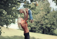 Lifestyle autumn photo happy mother and child Royalty Free Stock Photos
