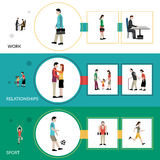 Lifestyle Banner Set. Lifestyle horizontal banner set with work relationship and sport elements  vector illustration Stock Photo