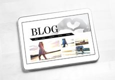 Lifestyle blog on tablet screen. New post by young fashion blogger and woman. Beautiful light web design. Top view Stock Photos