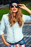Lifestyle blond model girl in casual cloth with pink lips Stock Photo