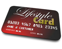 Lifestyle Card Credit Account Borrowing Money Payment Shopping. Lifestyle Card on red credit card for shopping and payment for goods and services Royalty Free Stock Images