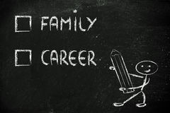 Lifestyle choices: multiple choice test, family or career stock photo