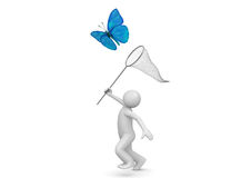 Lifestyle collection - Catching butterfly with net Royalty Free Stock Photography