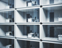 Lifestyle concept. Abstract small container offices in daylight. Lifestyle concept. 3D Rendering Stock Image