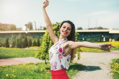 Lifestyle concept - beautiful happy woman enjoying summer outdoo. Rs Stock Photos