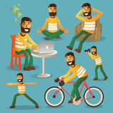Lifestyle concept everyday life character set vector illustratio Stock Photo