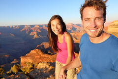 Lifestyle couple hiking in Grand Canyon Stock Images