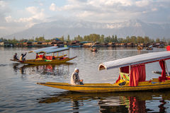 Lifestyle in Dal lake with Shikara boat, Srinagar, India Stock Photo