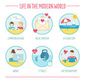 Lifestyle elements for infographics, flat vector Stock Photography