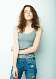 Lifestyle, fashion and people concept: beautiful woman wearing casual clothes, posing on white background Stock Photos