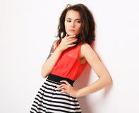 Lifestyle, fashion and people concept: fashion woman  posing in Royalty Free Stock Photos