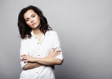 Lifestyle, fashion and people concept: fashion woman  posing in Royalty Free Stock Images