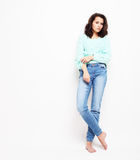 Lifestyle, fashion and people concept: Full body young woman mo stock photography