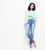 Lifestyle, fashion and people concept: Full body young woman mo stock photos