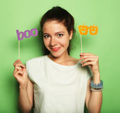 Lifestyle, fashion and people concept: playful young woman ready Stock Photography