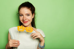 Lifestyle, fashion and people concept: playful young woman ready Royalty Free Stock Photo