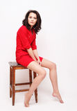 Lifestyle, fashion and people concept: young woman wearing red d stock images