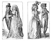 Lifestyle and fashion years 1780-1790 Royalty Free Stock Image