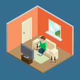 Lifestyle flat 3d isometric casual home leisure man tv beer Stock Images