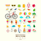 Lifestyle Flat Vector Icon Set Stock Image