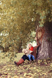 Lifestyle happy family in autumn, mother and child Royalty Free Stock Photography